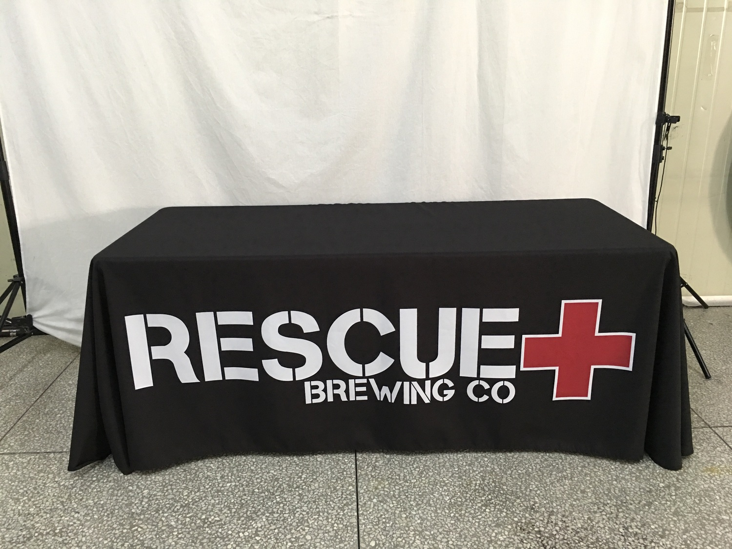 Rescue Brewing Custom Graphics Table Throw Example