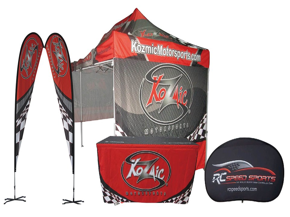 Custom Canopy with Flags Kozmic Motor Sports