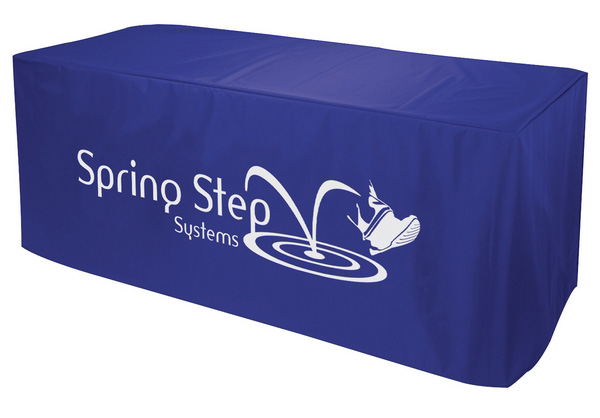 Custom 6ft table cover trade show Spring Step Systems